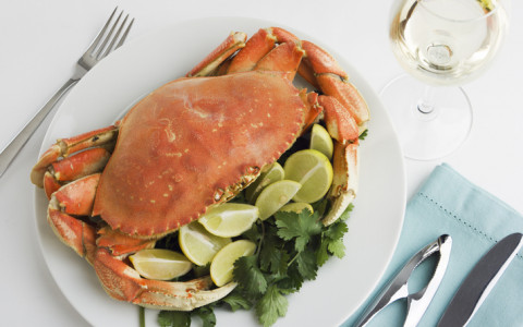 crab and wine