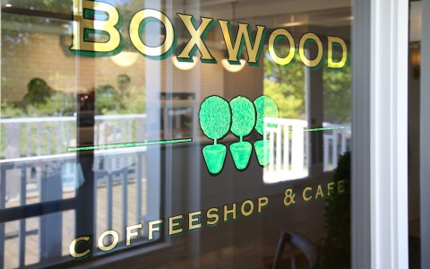 Boxwood coffeeshop & cafe logo on glass window