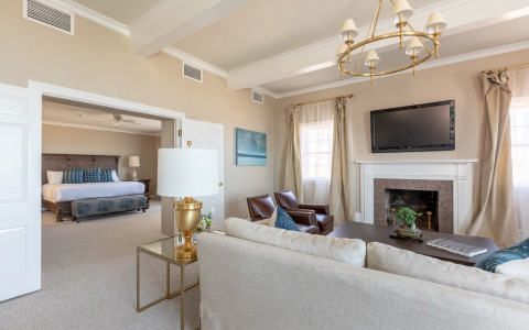 elegant suite with lounge area and king bed