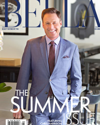 bella magazine cover with chris harrison wearing blue suit
