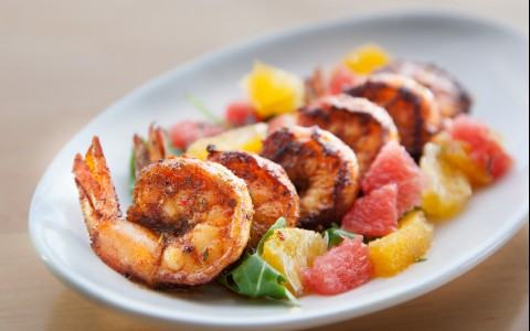 shrimp with fruit plate