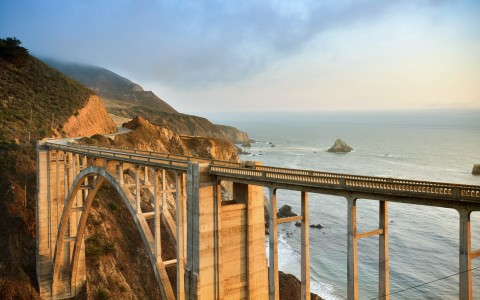Bridge with ocean view