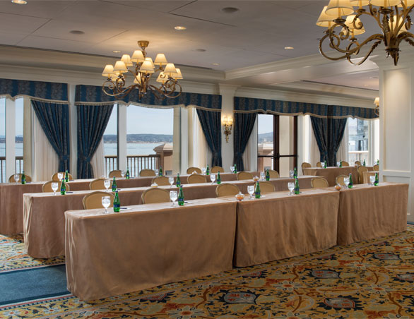 meeting room with large tables and chairs