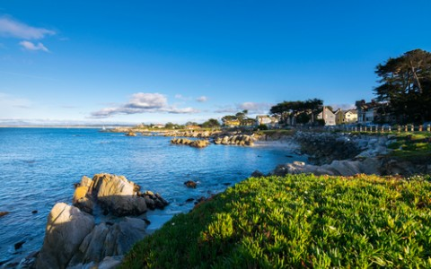 panoramic view of monterey at sunset