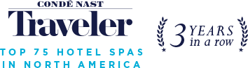"Banner that reads ""Conde Nast Traveler - Top 75 Hotel Spas In North America 3 years in a row"""