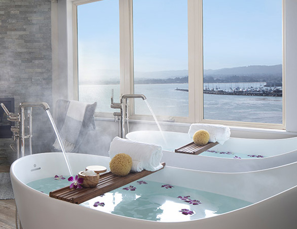 spa baths overlooking water