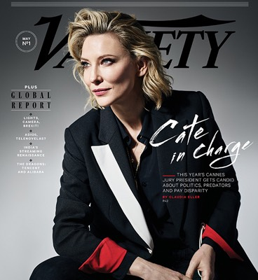 Variety magazine cover with woman wearing black suit