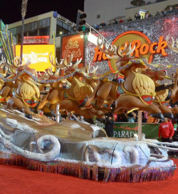 Reindeer float in Christmas parade