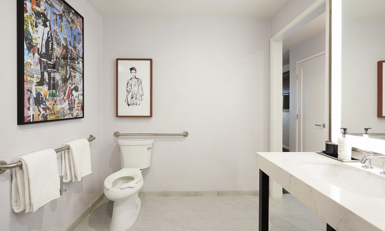 ADA bathroom with grab bars by toilet