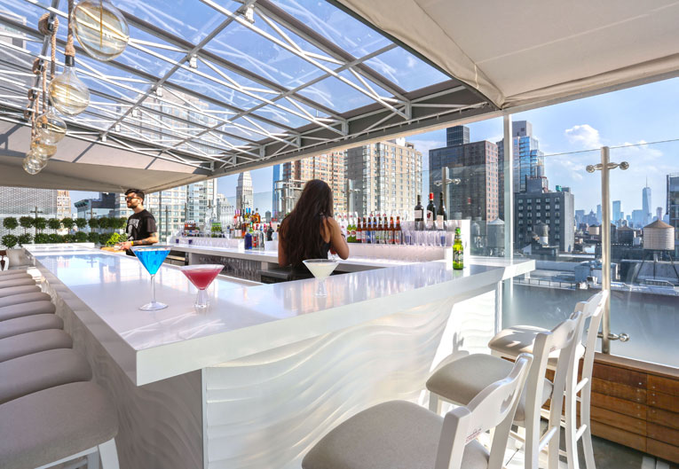 Mykonos Blue Rooftop Bar Greek Restaurant New York Hotels