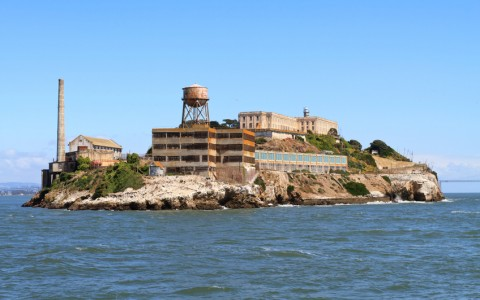 A view of the island Alcatraz from accross the water