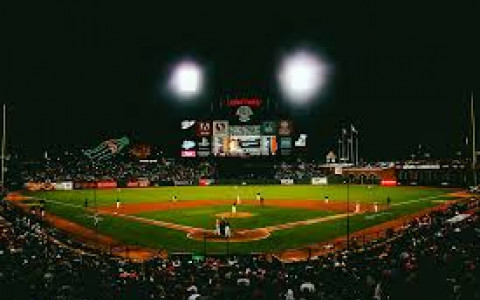 ATT Park in San Francisco at night with view behind home plate