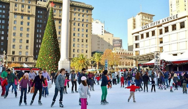 union square ice rink during christmas time