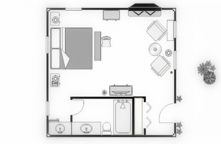 floorplan for king cottage room