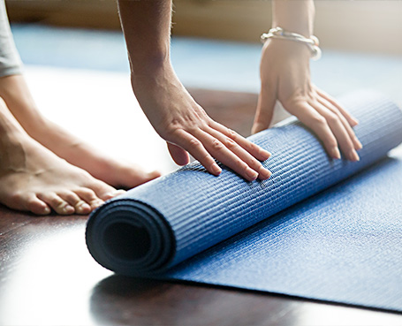 yoga mat getting rolled up  Image