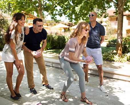 two couples playing outdoor games  Image