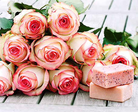 pink roses with spa butter Image