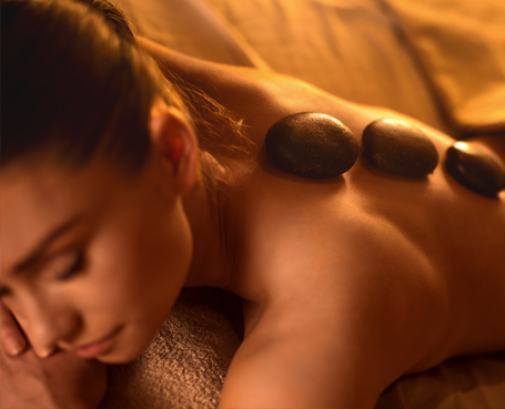 woman receiving hot stone massage Image