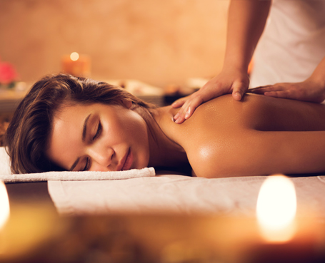 woman getting back massage Image