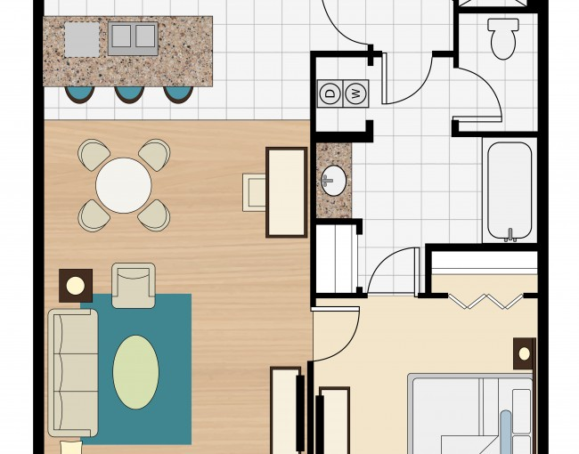 1 bedroom suite layout