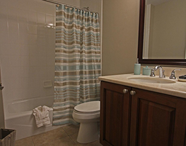 bathroom with a striped shower curtain, toilet, mirror, and vanity area
