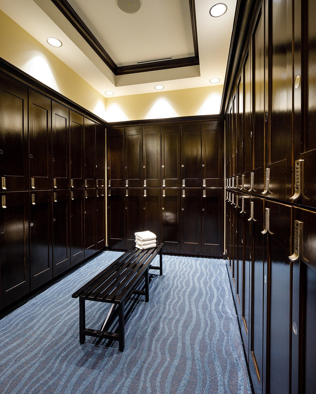 inside view of a spa locker room