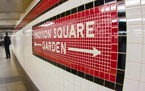 Madison Square Garden Sign in the Subway