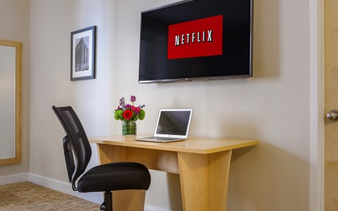 Desk and Netflix Screen on TV