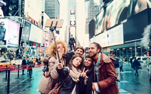 Friends Taking a Selfie in Time Square