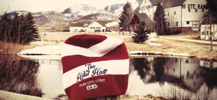 Park City, Utah beanie with lake view behind it