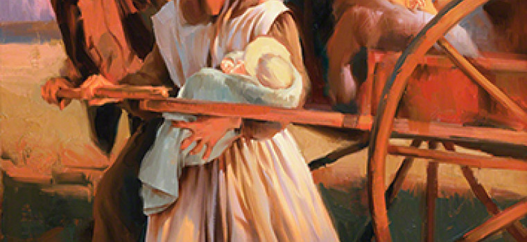 Illustration of Early Mormon Pioneer Family