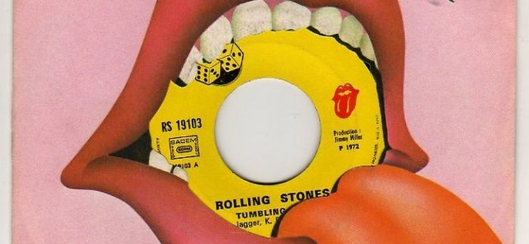 Rolling Stones Art of pink lips with a tongue