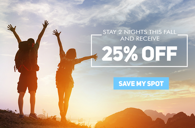 stay 2 nights and save 25% off