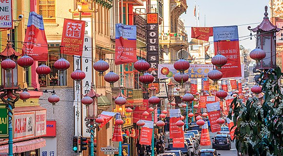 Chinatown street with lanterns hung