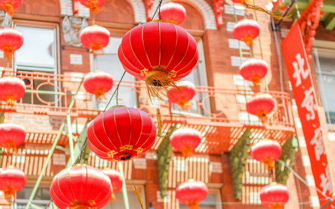 Brilliant Red Hanging Lanterns in San Franciscos Chinatown