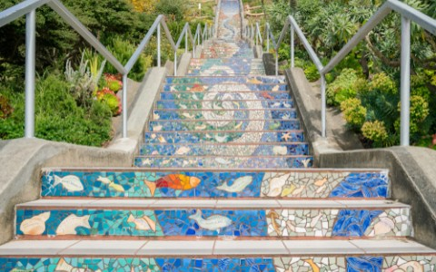 colorful mosaic stairway in san francisco