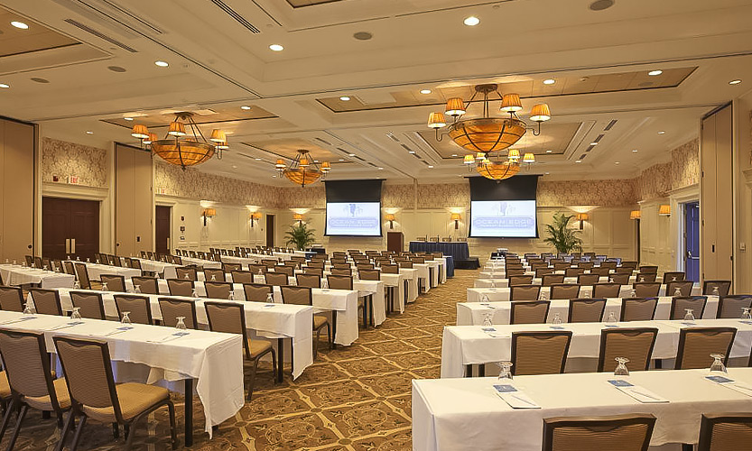 event space prepared for conference