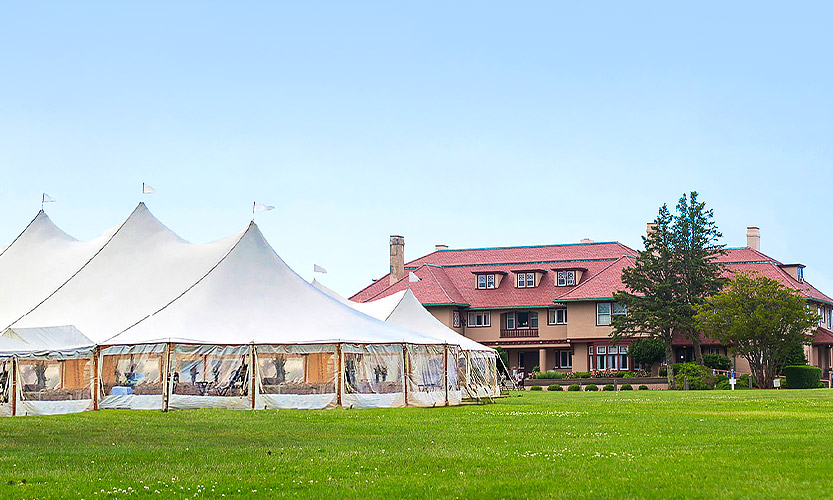 event tent in front of hotel