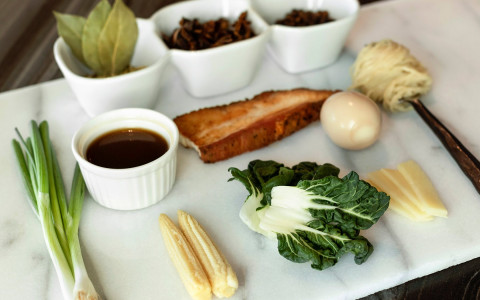 White plate with ingredients laid out on it