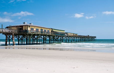 Daytona beach pier with blue skies