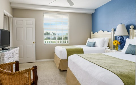 two beds with white headboards