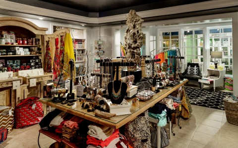 accessory table at clothing boutique