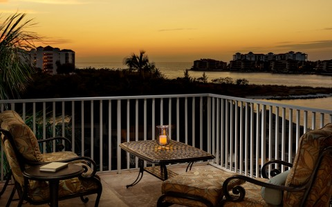 guest room balcony at sunset