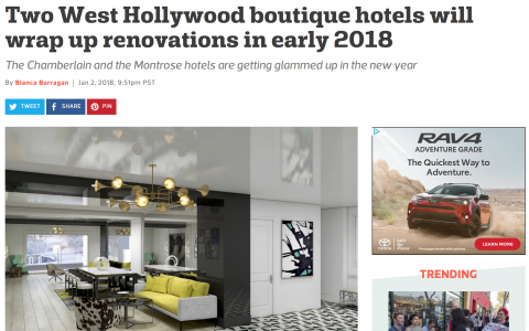 Two West Hollywood boutique hotels will wrap up renovations in early 2018
