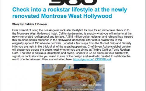 Check into a rockstar lifestyle at the newly renovated Montrose West Hollywood