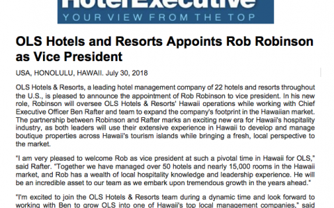 OLS Hotels and Resorts Appoints Rob Robinson as Vice President