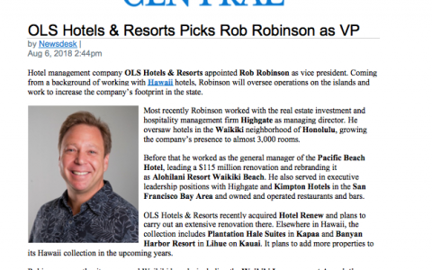OLS Hotels & Resorts Picks Rob Robinson as VP