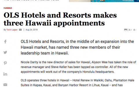 OLS Hotels and Resorts makes three Hawaii appointments