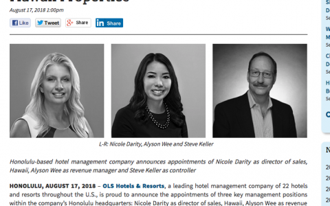 OLS Hotels & Resorts Appoints Three Key Management Positions for Company's Hawaii Properties
