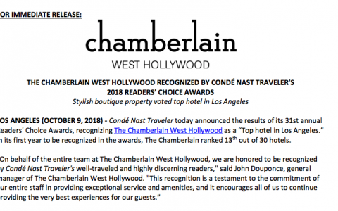 The Chamberlain West Hollywood Recognized by Condé Nast Traveler's 2018 Reader's Choice Awards